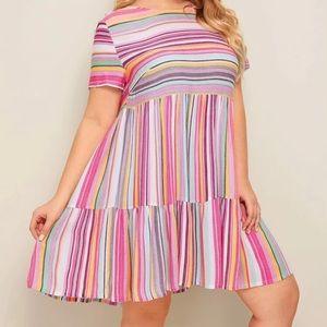 Colorful striped ruffle hem dress